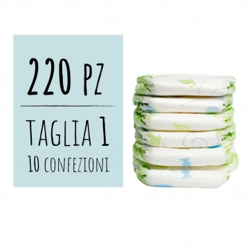 Offerta 220 pannolini delicati new born per neonato 1 taglia peso 2/5 Kg confezione maxi risparmio