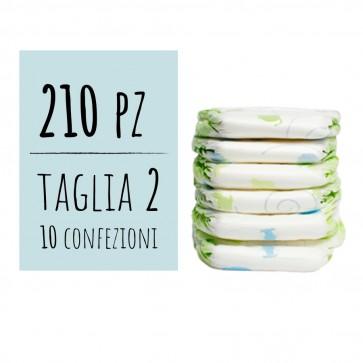 Pannolini 2 taglia delicati per bambino 3/6 Kg confezione maxi risparmio 210 pz