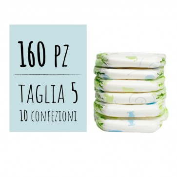 Pannolini 5 taglia delicati per bambino 12/25 Kg confezione maxi risparmio 160 pz