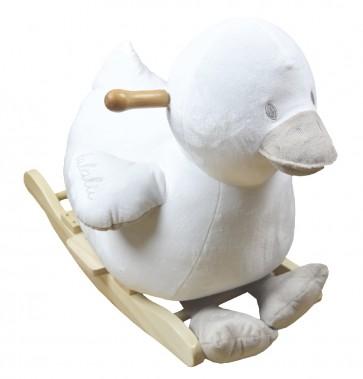 Dondolo per bambino papero Lalalu color latte e tortora con base in legno