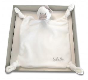 Doudou neonata per bambina morbido peluche Lalalu bianco color latte